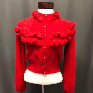 Angora ruffles and lace cardigan sweater